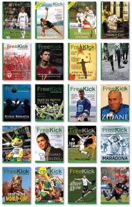 20 of the 21 covers of Free Kick Magazine
