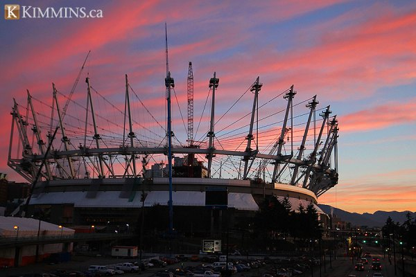 The sun rises on BC Place - 235 days until completion
